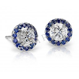 14K White Gold Diamond Stud Earring